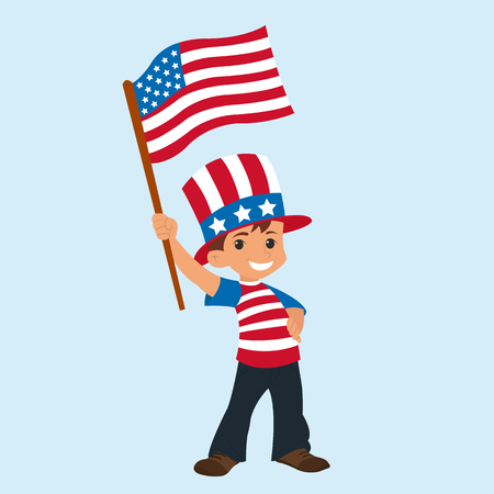 cute boy with an American flag. Happy Independence Day. vector Illustration