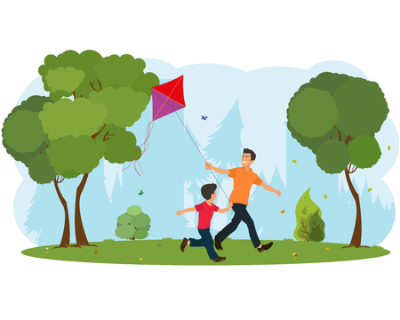 Dad and son child flying a kite. vector Illustration