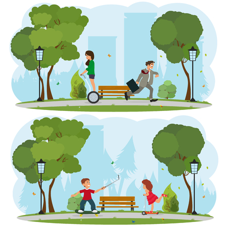 in a city park children ride on a skateboard and a scooter. vector