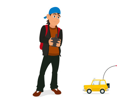 Boy playing with rc car with remote control in hands. flat vector