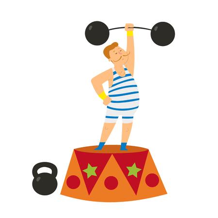 athlete on the circus performance raises the bar. vector illustration.