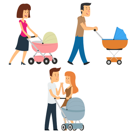 Parents walking with a stroller. vector illustration
