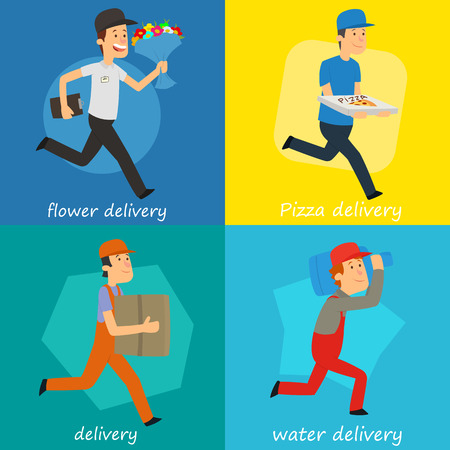fast delivery by a courier. vector illustration.