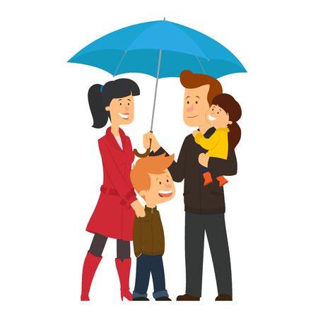 Happy family under umbrella. father, mother, son,daughter. vector illustration. Çizim