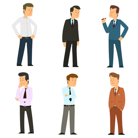 Set of thoughtful businessmen. Unhappy people in business suits isolated on white background. vector illustration.