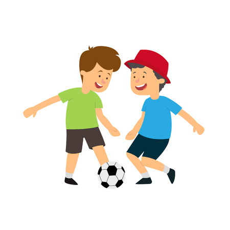 Two boys playing ball. vector illustration isolated on white background. Stock Illustratie