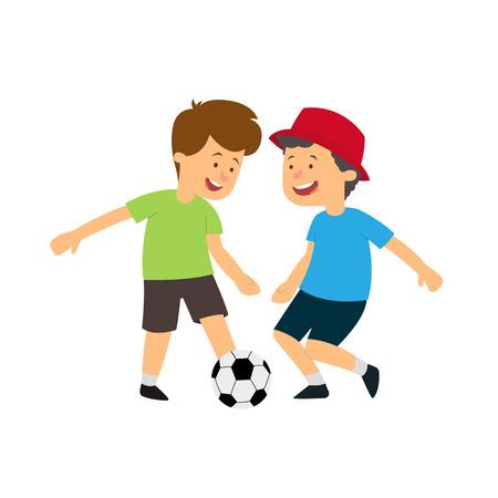 Two boys playing ball. vector illustration isolated on white background. Ilustração