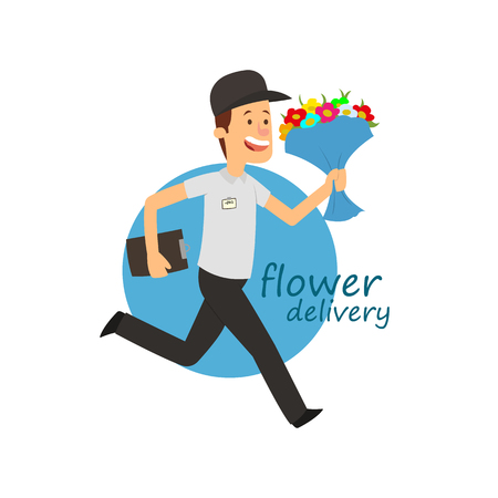 flower delivery. fast delivery by a courier. vector illustration. Ilustração