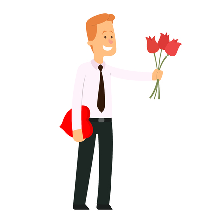 man giving a bouquet of tulips. vector illustration.
