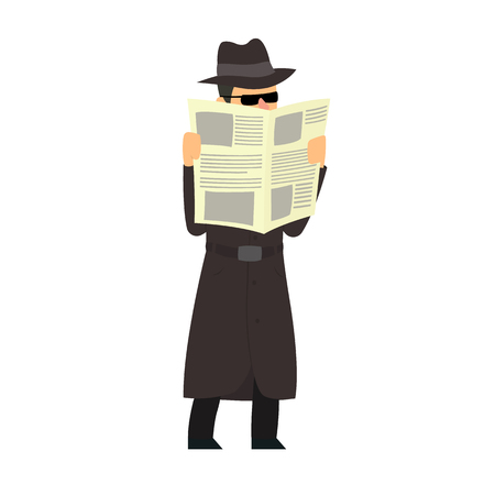 Detective conducts covert surveillance. vector illustration
