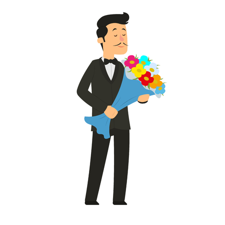 man gives a big bouquet of flowers. vector illustration.