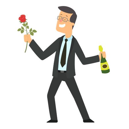 man gives a beautiful rose. vector illustration. Stock Illustratie