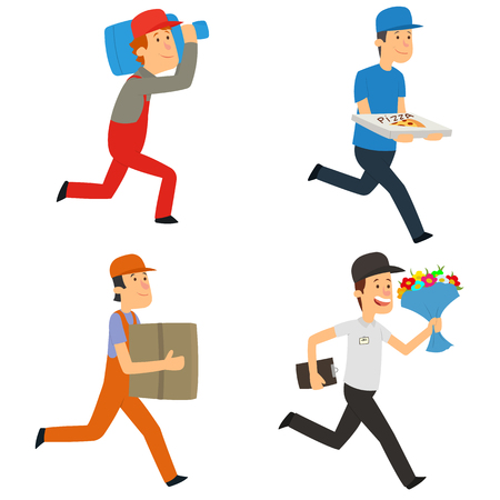 Delivery man. fast delivery by a courier. vector illustration. Stock Illustratie