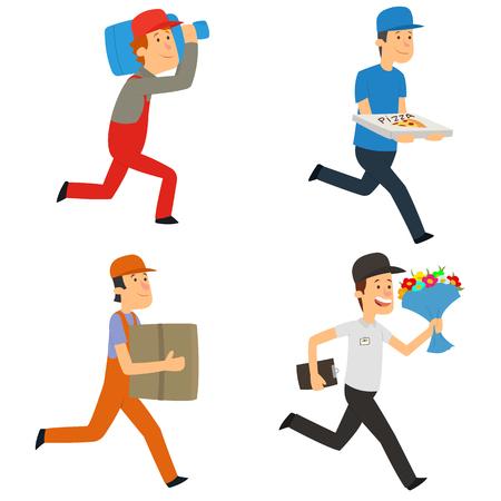 Delivery man. fast delivery by a courier. vector illustration. Ilustração