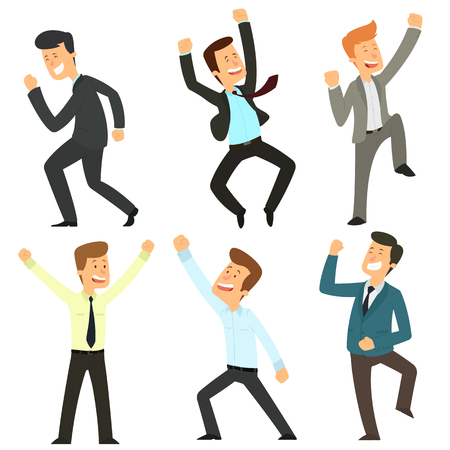 Group of satisfied businessmen. Set of several characters in business suits on a white background. vector illustration.