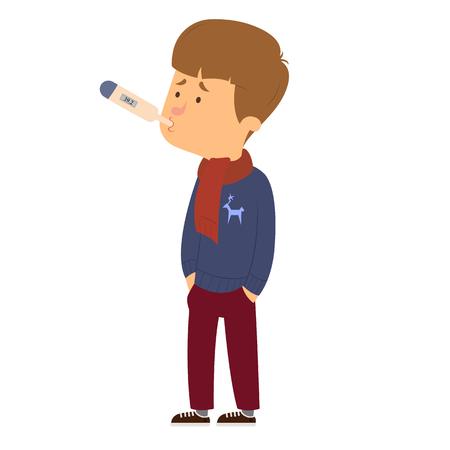 sick child thermometer measures the temperature. vector illustration Illustration