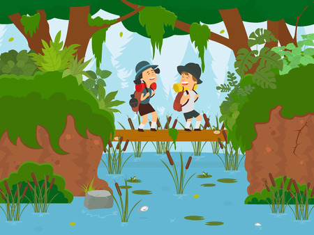 Boy and girl on foot in the forest. Children cross the log of a forest river. vector illustration Stock Illustratie
