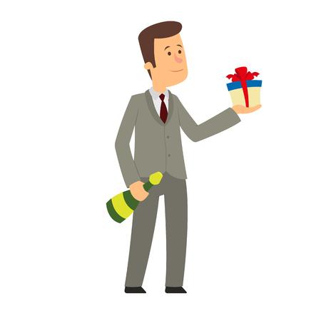 man gives a gift. vector illustration.