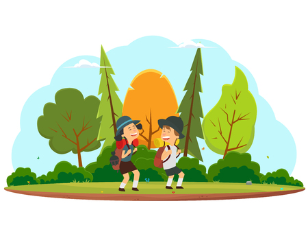 Happy children go on a hike through the forest. Boy and girl with backpacks traveling. vector illustration