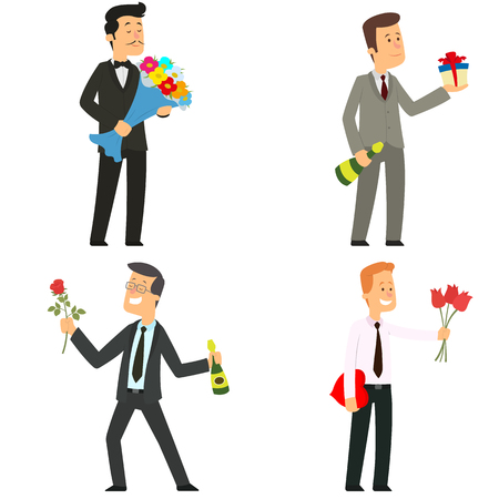 men give flowers, gifts and candies. vector illustration.