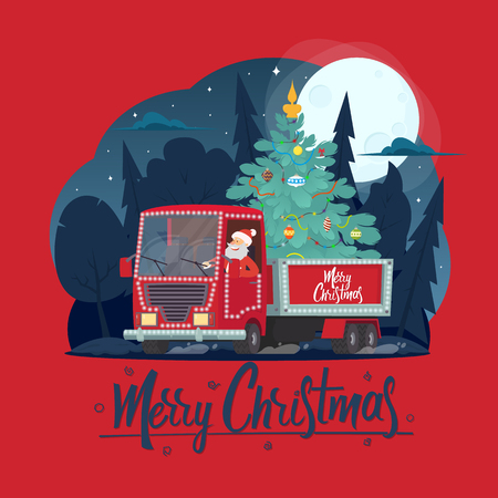 Santa Claus is a truck driver with a Christmas tree. Christmas greeting card - background - poster. Vector illustration.