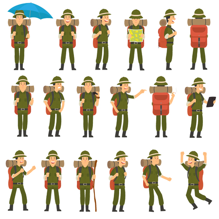 the traveler in different poses set. vector illustration Illustration
