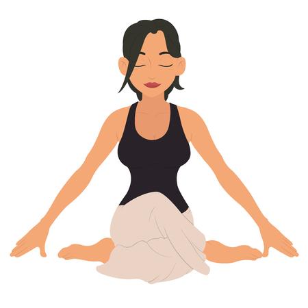 mujer joven haciendo yoga. personaje de fitness. ilustración vectorial