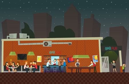 people are relaxing at the bar. customers have fun in the restaurant at night. vector Illusztráció
