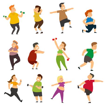 Los gordos divertidos están haciendo deporte. Los personajes gruesos pierden peso activamente mientras hacen ejercicios deportivos. ilustración vectorial.