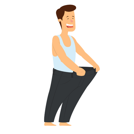 Healthy slim man in big pants after weight loss . vector illustration.