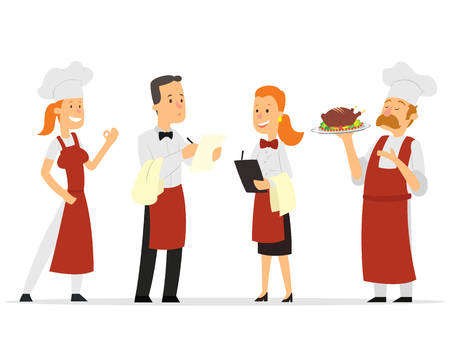 Restaurant staff characters design. Include chef, assistants, manager , waitress . Professionals team. vector illustration Ilustracja