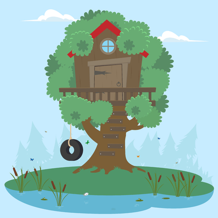 House on tree for kids. Children playground with swing and ladder. Flat style vector illustration.