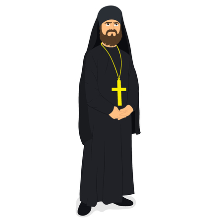 orthodox priest. vector illustration.