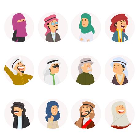 round avatars of Arab people. vector illustration.