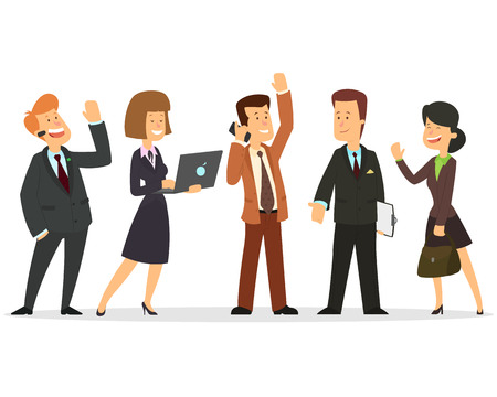Business team. A group of people dressed in business suits. Vector illustration