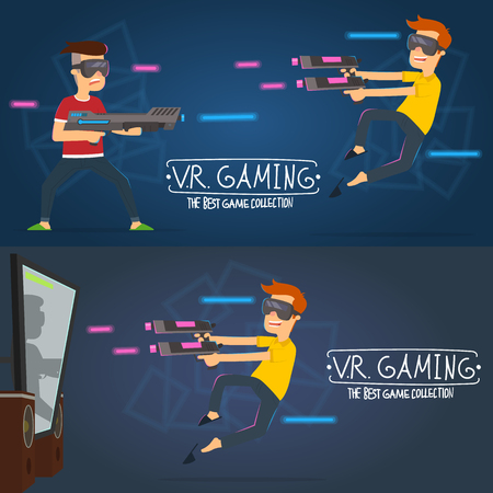 boy using V.R. headset for play a computer game and education in 3d virtual reality world. vector banner Illustration