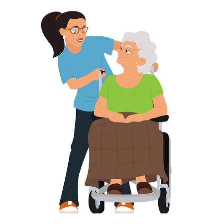 Un'assistente sociale aiuta una nonna su una sedia a rotelle. illustrazione vettoriale isolato su sfondo bianco.