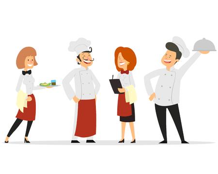Design der Charaktere des Restaurantpersonals. Fügen Sie Koch, Assistenten, Manager, Kellnerin hinzu. Profis-Team. Vektor-Illustration