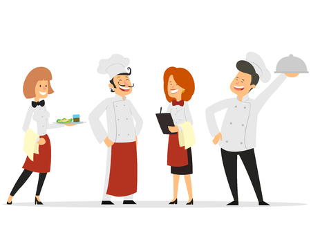 Restaurant staff characters design. Include chef, assistants, manager , waitress . Professionals team. vector illustration  イラスト・ベクター素材