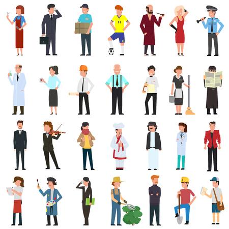 muchos personajes sencillos de diferentes profesiones. ilustración vectorial en un estilo plano.