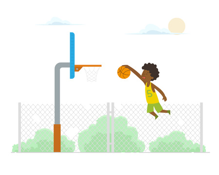 Basketball player making a slam dunk. Playing street ball. Healthy lifestyle. vector Illustration