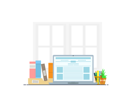 Organization of the working space. The concept of a freelance workplace. vector illustration. Stock Illustratie