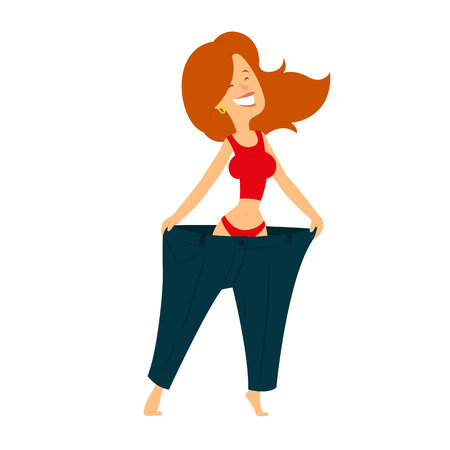 healthy woman dressed her big pants after losing weight. vector illustration.