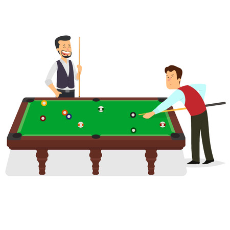 two players play billiards. Vector Illustration. Isolated on white.