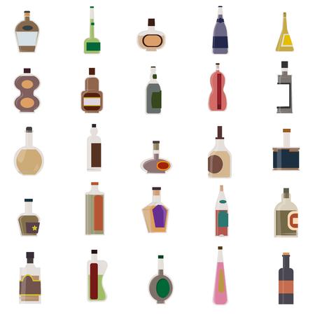 Alcoholic Drinks Bottles Large Vector Set