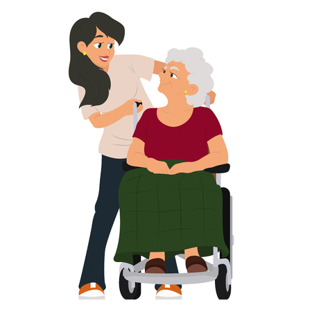 Un trabajador social ayuda a una abuela en silla de ruedas. ilustración vectorial aislado sobre fondo blanco.