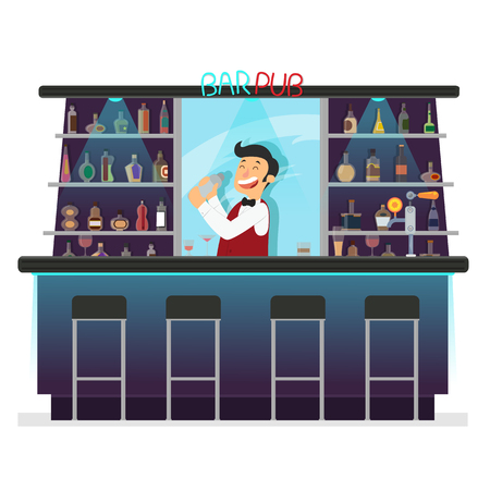 Beer bar - Restaurant. bartender makes a cocktail. Vector illustration in flat style.