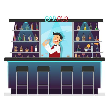 Beer bar - Restaurant. bartender makes a cocktail. Vector illustration in flat style.