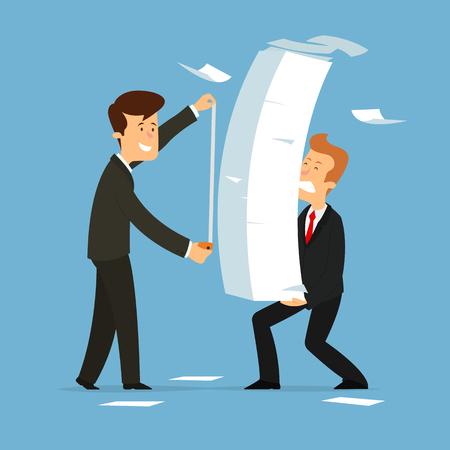 businessman measures the amount of paper work. Paperwork burden stress. Flat style vector illustration.