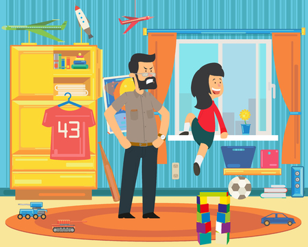 The child is playing dangerously. Dad forbids the girl to climb out the window. vector illustration Stock Illustratie